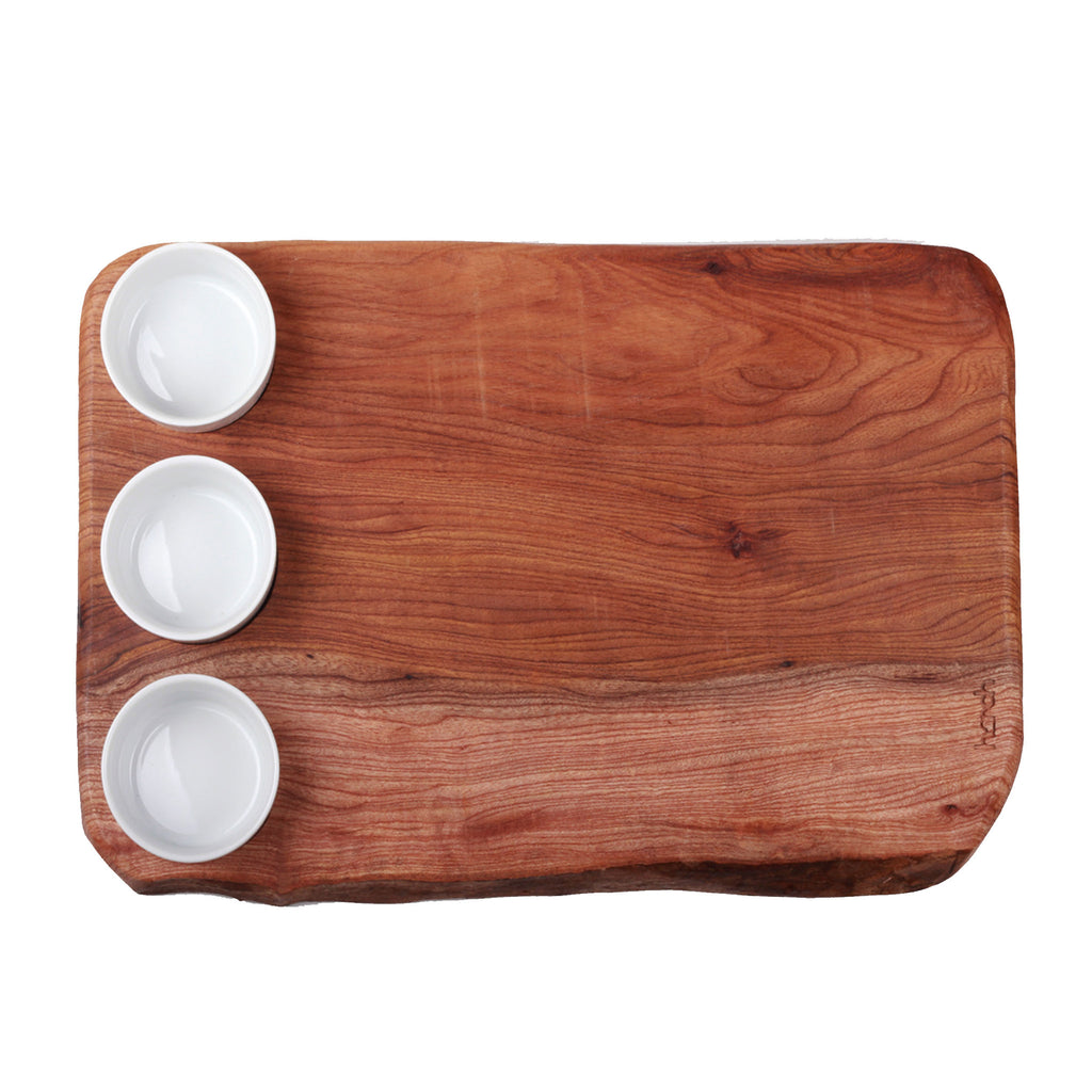 Waney Edge Board with Dipping Bowls