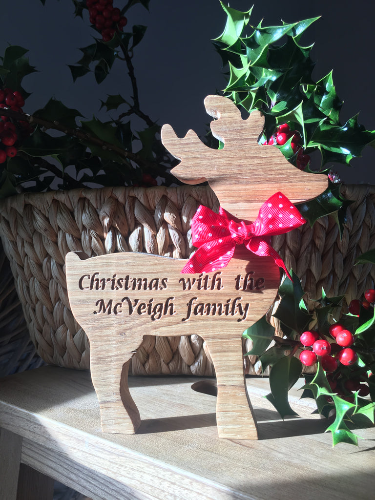 Beautiful PERSONALISED Reindeer- hand made from solid oak with luxury ribbon and personalised.