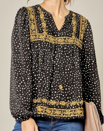 Emerson Dalmation Print Top with Gold Embroidery