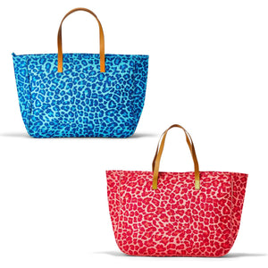 Leopard Print Jute Totebag Assorted 2 Colors