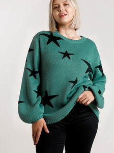 Selma Star Pattern Puff Sleeve Sweater