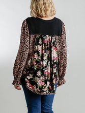 Load image into Gallery viewer, Jodie Floral and Animal Mixed Print Top in Black