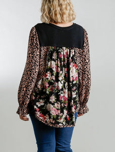 Jodie Floral and Animal Mixed Print Top in Black