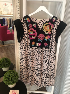 Kayla Leopard Print with Floral Embroidery Dress