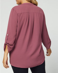 Alysha V-Neck 3/4 Sleeve Top in Dark Mauve