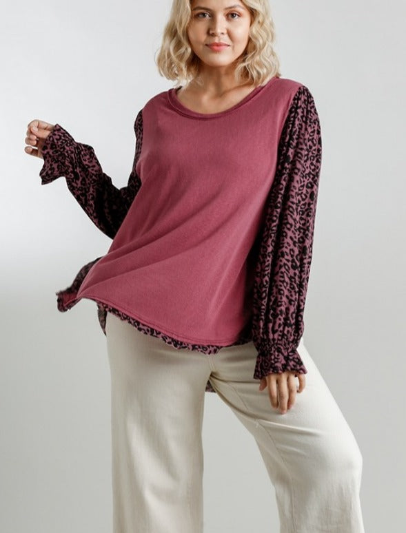 Jodie Floral and Animal Mixed Print Top in Cranberry