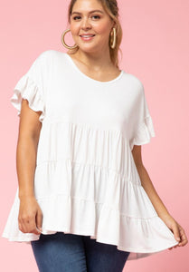 Tori Tiered Top with Ruffle Detail Sleeve