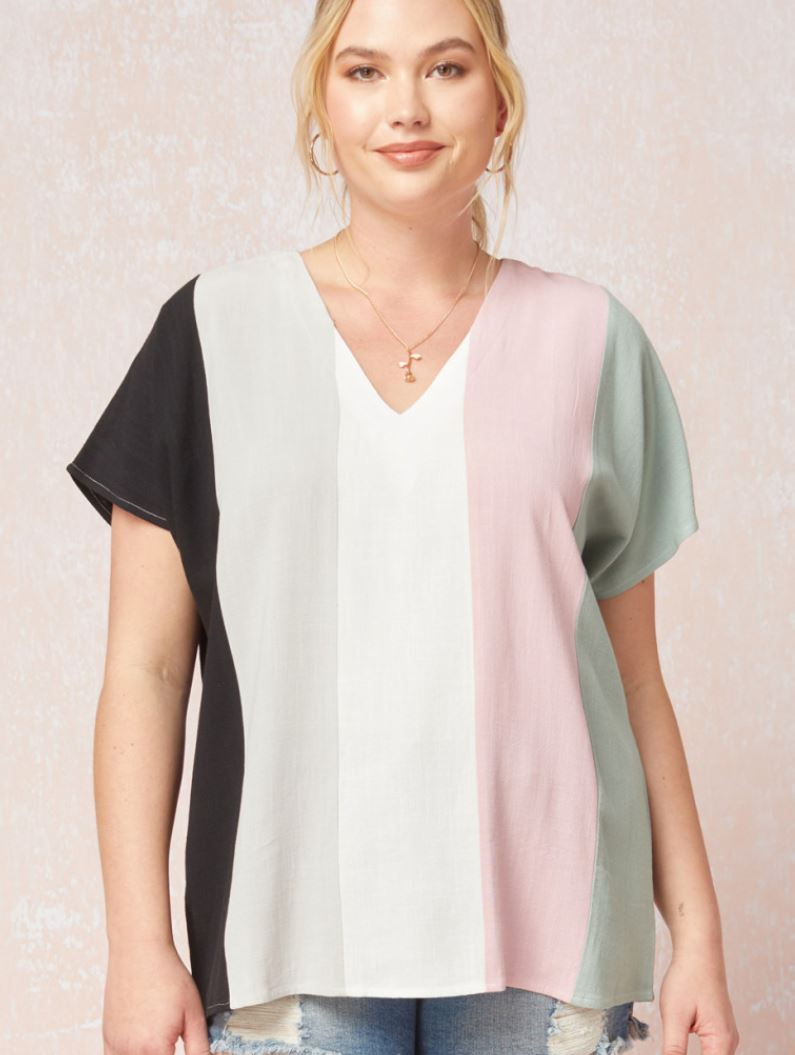 Penny Linen Blend V-Neck Colorblock Top
