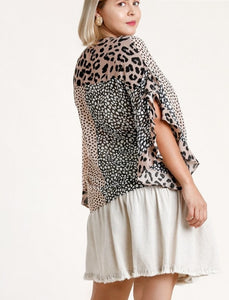 Delila Animal Print Split Ruffle Sleeve Top