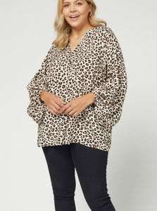 Jolie Leopard Print V-Neck Top