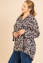 Load image into Gallery viewer, Haley Animal Print V-Neck Collared Tunic