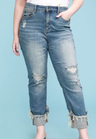 Nikki Destroyed Cuffed Hem Relaxed Fit Jeans