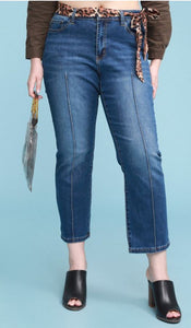 Emma Cropped Straight Leg Jean with Leopard Sash