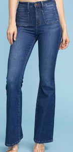 Jolene Front Patch Pockets Flare Jeans
