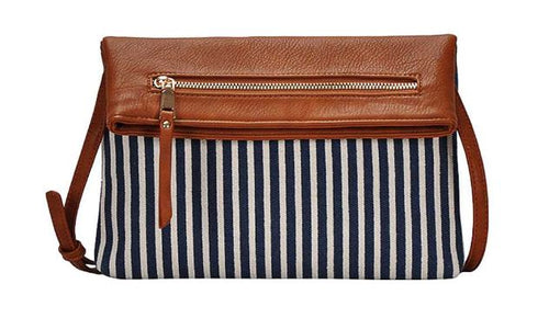 Navy Striped Clutch with Leather Flap