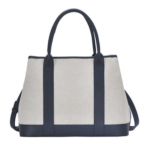 Two Tone Navy Canvas Satchel with Long Strap