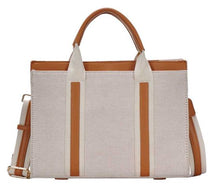 Load image into Gallery viewer, Two Tone Navy Satchel with Long Strap in Tan