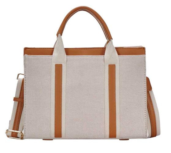 Two Tone Navy Satchel with Long Strap in Tan