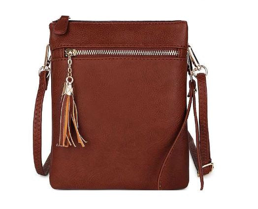 Tassel Multi Compartment Cross Body Bag