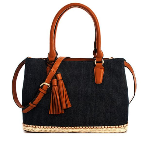Katie Denim Satchel in Dark Denim