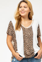 Load image into Gallery viewer, Merritt Leopard and Waffle Color Block Tee