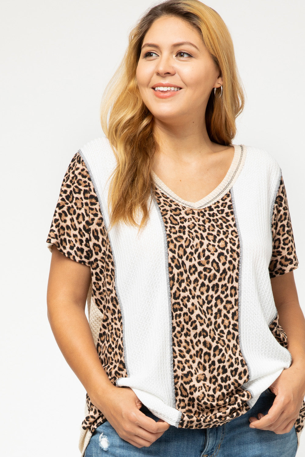 Merritt Leopard and Waffle Color Block Tee