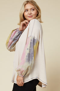 Jamye Waffle Knit Tie Dye Puff Sleeve Top in Cream