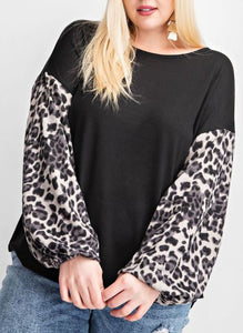 Jenna Leopard Bubble Sleeve Top