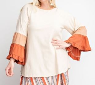 Lana Ruffled Colorblock Sleeve Top