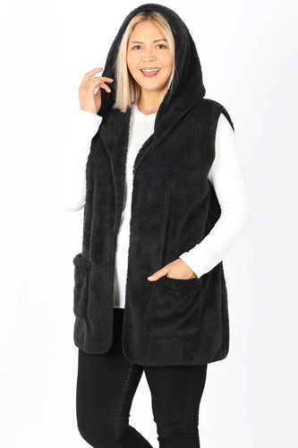 Aubry Faux Fur Hooded Vest