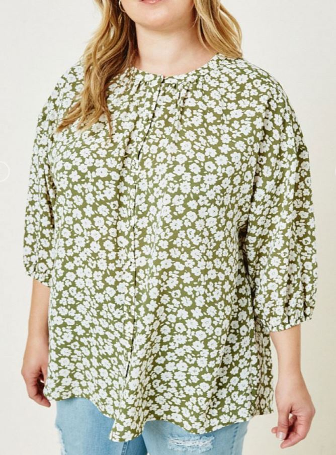 Nina Gail Floral Button Down Puff Sleeve Top