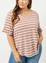 Load image into Gallery viewer, Madi Stripe V-Neck Ruffle Tee