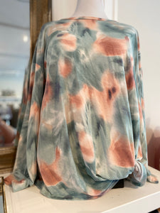 Norah Tie Dye Knit Top with Twisted Hem