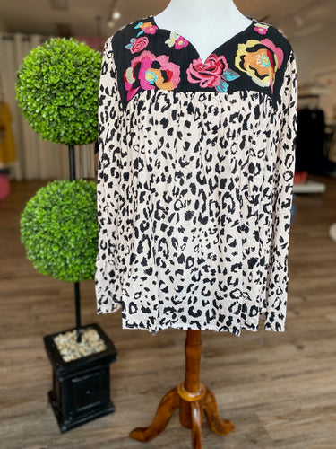 Kayla Leopard Print Top with Floral Embroidery