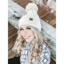 Load image into Gallery viewer, Cable Knit Faux Fur Pom and Cuff CC Beanie
