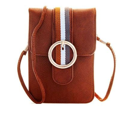 Sally Ann Striped Crossbody Pouch in Tan