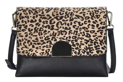 Hallie Chic Leopard Flap Crossbody Bag