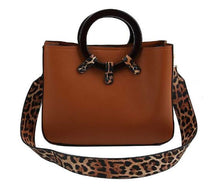 Load image into Gallery viewer, Leopard Trim Bag with Long Strap