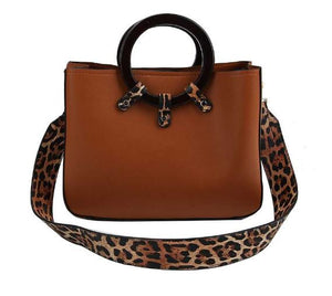 Leopard Trim Bag with Long Strap