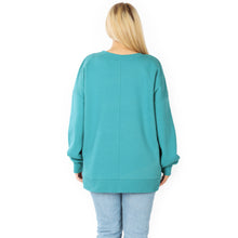 Load image into Gallery viewer, Kennedi V-Neck Sweatshirt with Pockets in Dusty Teal