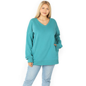 Kennedi V-Neck Sweatshirt with Pockets in Dusty Teal