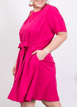 Load image into Gallery viewer, Kristin Fuchsia Dress with Tie Waist