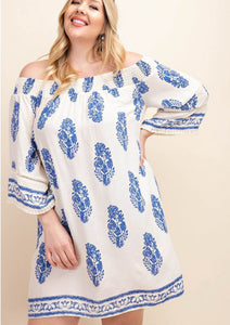 Kerri Blue and White Feather Off the Shoulder Dress