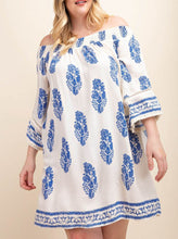 Load image into Gallery viewer, Kerri Blue and White Feather Off the Shoulder Dress