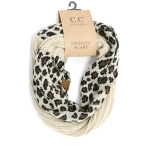Ribbed Knit Leopard CC Infinity Scarf