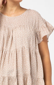 Carmen Dotted Tiered Scoop-Neck Top