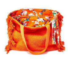 Load image into Gallery viewer, Terry Cloth Tote with Fringe Tassel Pull