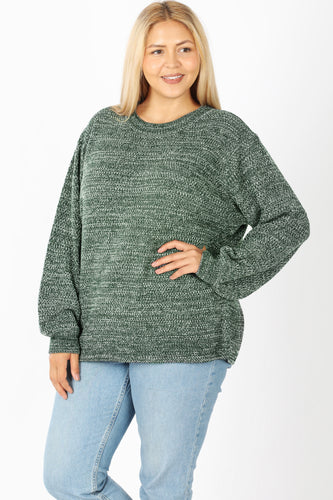 Heidi Balloon Sleeve Sweater in Hunter Green
