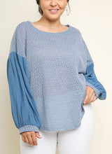 Load image into Gallery viewer, Charlotte Puff Sleeve Waffle Knit Top