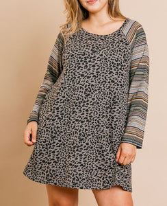 Adrian Animal Print with Striped Sleeve Dress in Grey